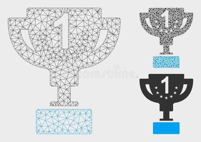 Значок мозаики и треугольника каркасной модели сетки вектора чашки первого приза иллюстрация штока