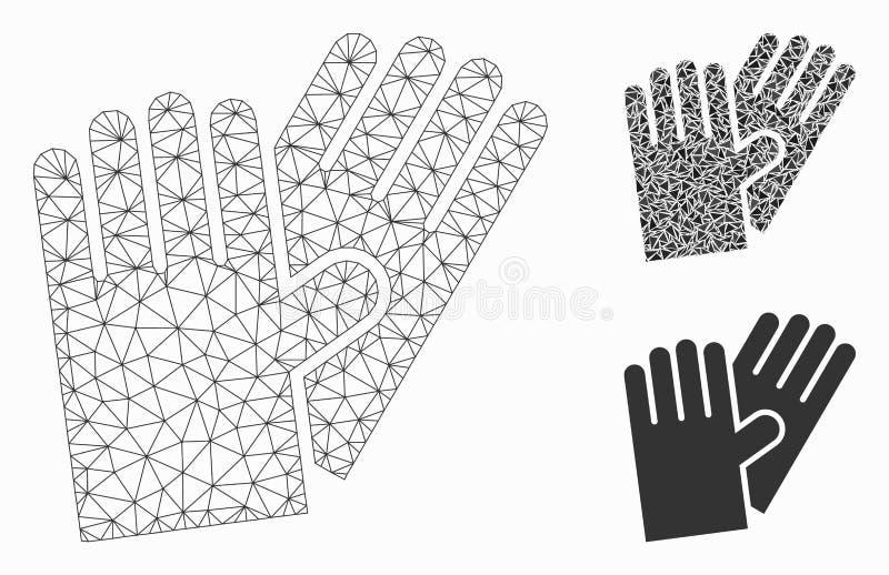 Значок мозаики модели и треугольника резиновой сетки вектора перчаток 2D иллюстрация вектора