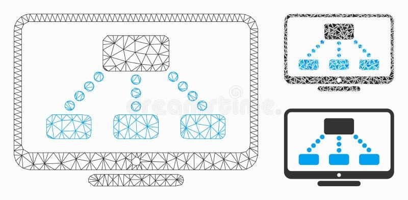 Значок мозаики модели и треугольника сетки вектора монитора иерархии 2D иллюстрация штока