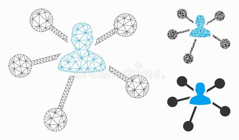 Значок мозаики модели и треугольника сетки вектора отношений человека 2D иллюстрация вектора