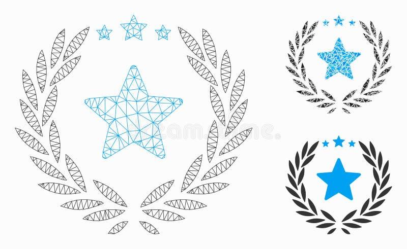 Значок мозаики модели и треугольника сетки вектора эмблемы звезды лавра 2D иллюстрация вектора