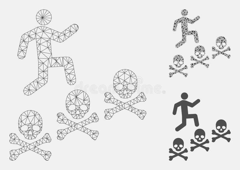 Значок мозаики модели и треугольника туши сетки вектора смертей шагов человека бесплатная иллюстрация