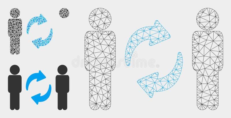 Значок мозаики модели и треугольника туши сетки вектора стрелок обменом парней иллюстрация штока