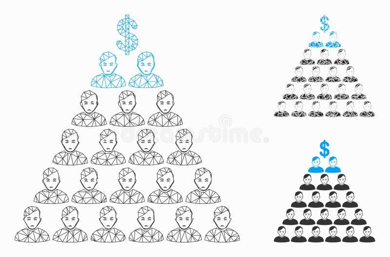 Значок мозаики модели и треугольника туши сетки вектора финансовой пирамиды Ponzi иллюстрация вектора