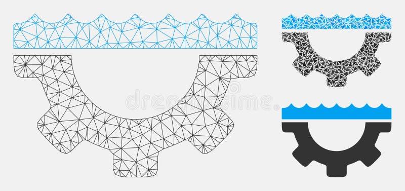 Значок мозаики модели и треугольника туши сетки вектора шестерни обслуживания воды бесплатная иллюстрация