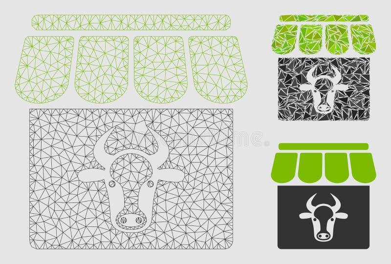 Значок мозаики сетевой модели и треугольника ячеистой сети вектора фермы коровы бесплатная иллюстрация