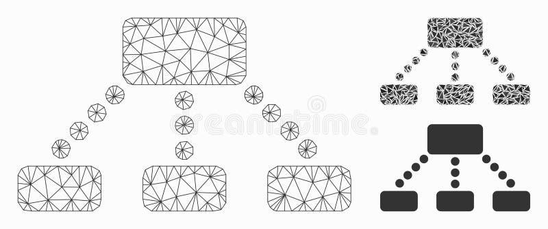 Значок мозаики сетевой модели и треугольника ячеистой сети вектора иерархии иллюстрация вектора