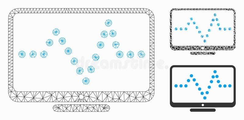 Значок мозаики сетевой модели и треугольника ячеистой сети вектора диаграммы ИМПа ульс бесплатная иллюстрация