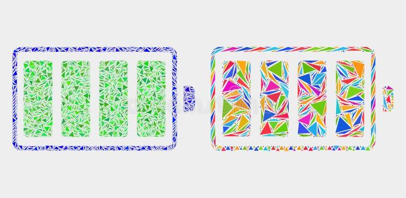 Значок мозаики электрической батареи вектора треугольников иллюстрация вектора