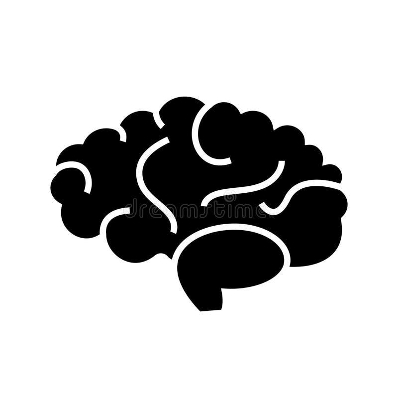 Значок мозга, иллюстрация вектора, черный знак на изолированной предпосылке бесплатная иллюстрация