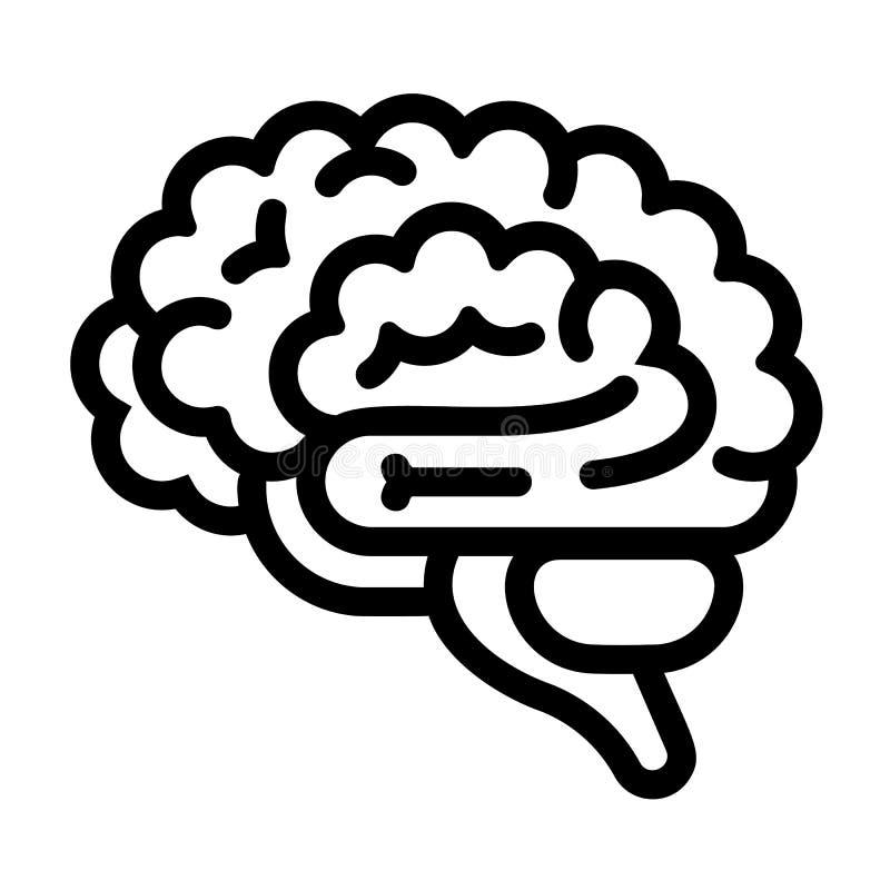 Значок мозга, стиль плана иллюстрация вектора