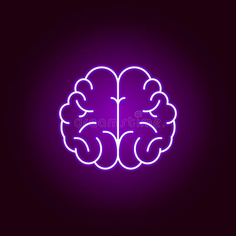 значок мозга Элементы иллюстрации науки в фиолетовом неоновом значке стиля Знаки и символы можно использовать для сети, логотипа, иллюстрация штока