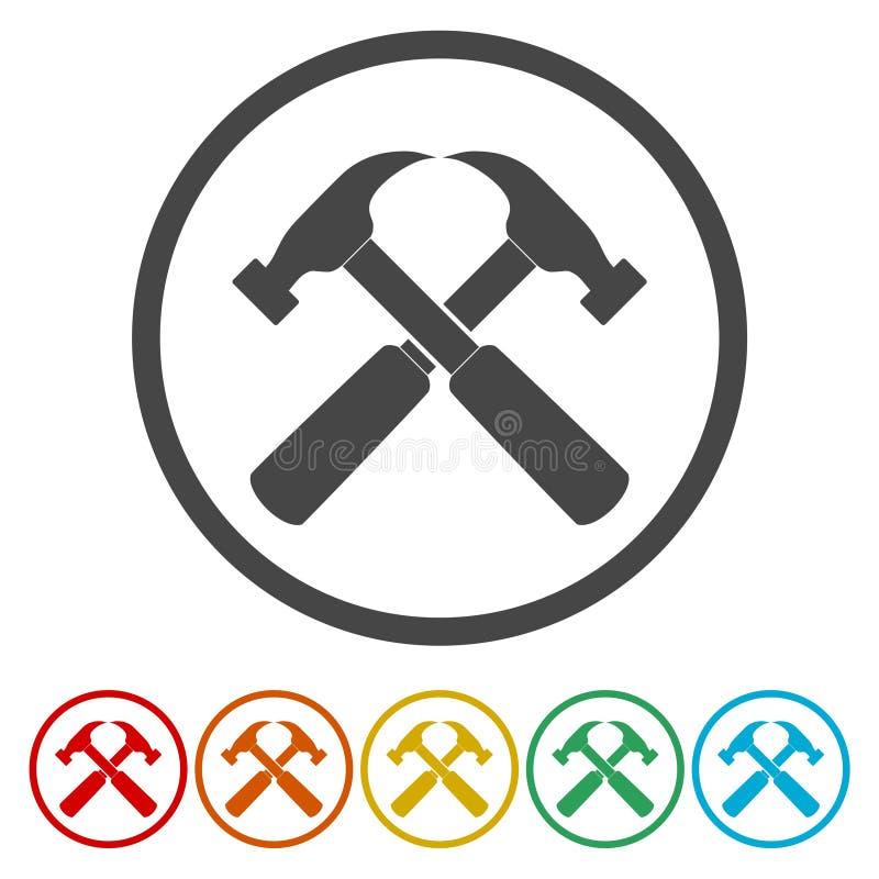 Значок молотка с изменениями цвета иллюстрация штока