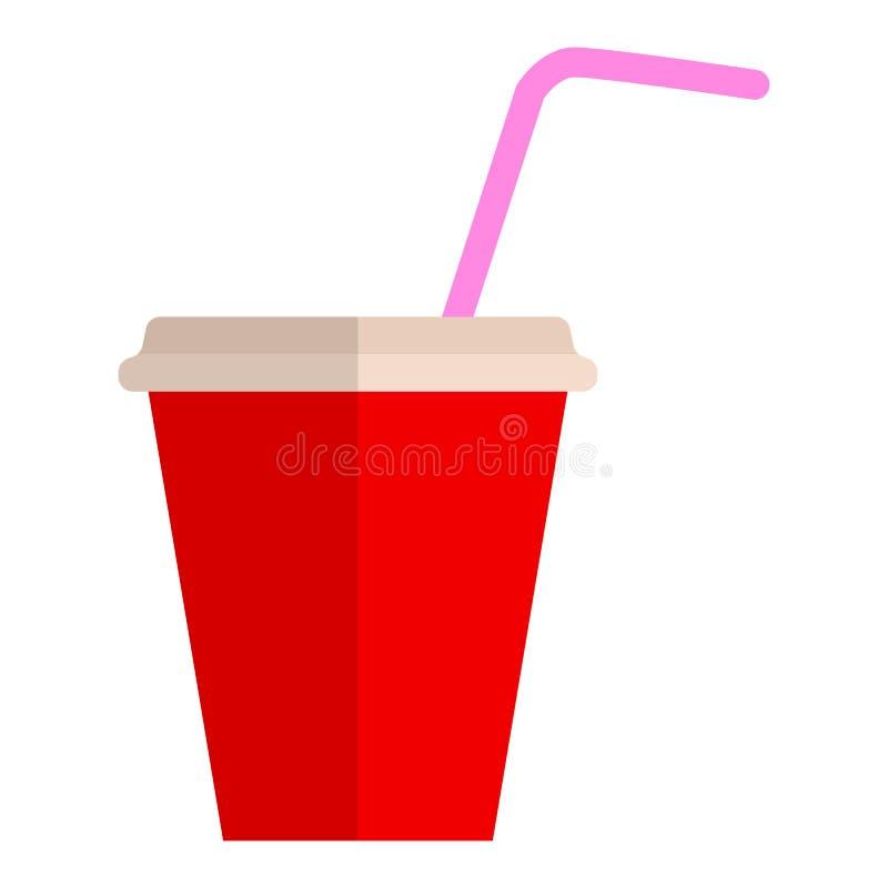 Значок молочного коктейля плоский иллюстрация вектора