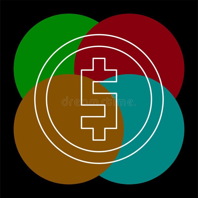 Значок монетки доллара деньги вектора - символ вклада иллюстрация вектора