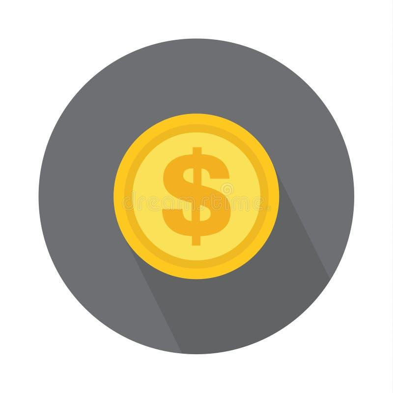 Значок монетки доллара, символ на предпосылке цвета Дизайн изолированный вектором иллюстрация штока