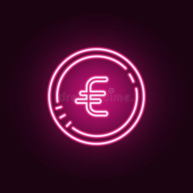 значок монетки евро неоновый Элементы набора банка Простой значок для вебсайтов, веб-дизайн, мобильное приложение, графики информ иллюстрация штока