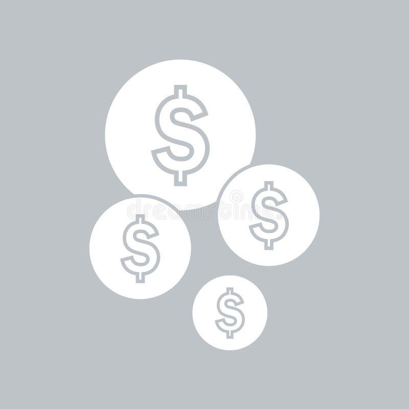 Значок монетки плоский на серой предпосылке, для любого случая бесплатная иллюстрация