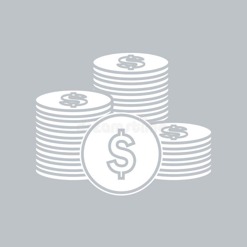 Значок монетки плоский на серой предпосылке, для любого случая иллюстрация штока