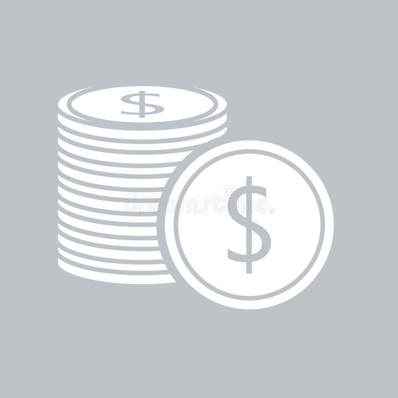 Значок монетки плоский на серой предпосылке, для любого случая иллюстрация вектора