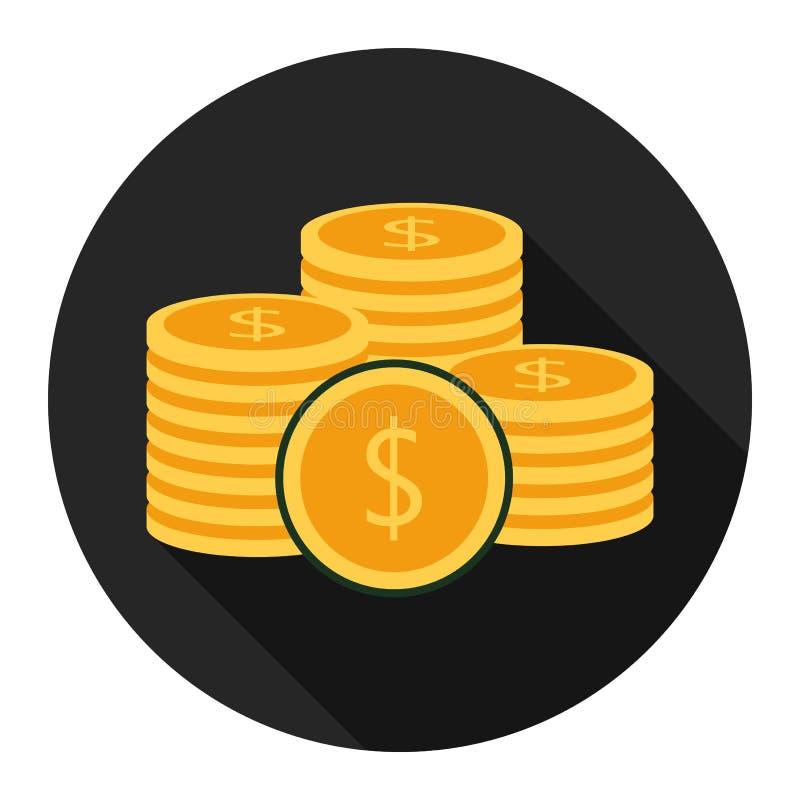 Значок монетки плоский на черной предпосылке для любого случая иллюстрация вектора