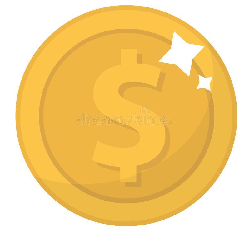 Значок монетки, плоский дизайн Золотые монетки, цент, изолированный на белой предпосылке Деньги для передвижных применений и игр  иллюстрация вектора