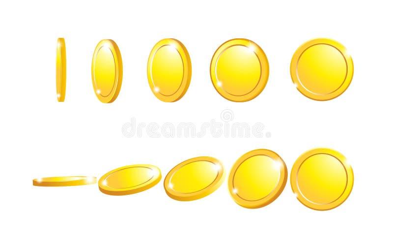 Значок монетки 3d золотых монеток падая реалистический при тени изолированные на белых предпосылках иллюстрация вектора