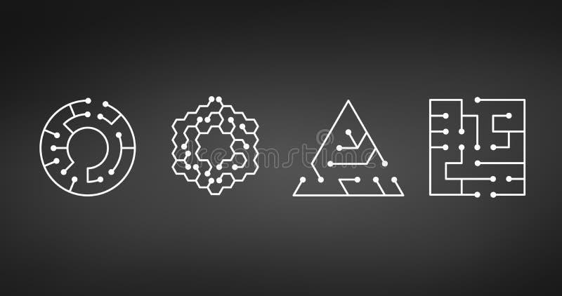 Значок монтажной платы абстрактные формы квадрата, круга, треугольника, лабиринта шестиугольника ИТ Символ технологии Концепция п иллюстрация вектора