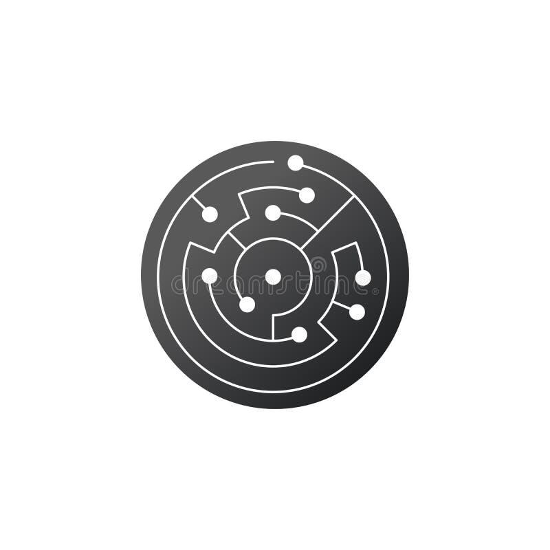 Значок монтажной платы абстрактный лабиринт формы ИТ круга Символ технологии Концепция программного обеспечения компьютера Элемен бесплатная иллюстрация
