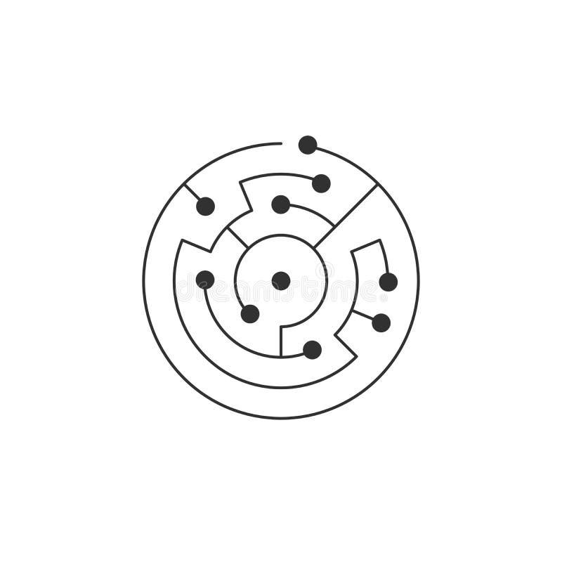 Значок монтажной платы абстрактный лабиринт формы ИТ круга Символ технологии Концепция программного обеспечения компьютера Элемен иллюстрация штока
