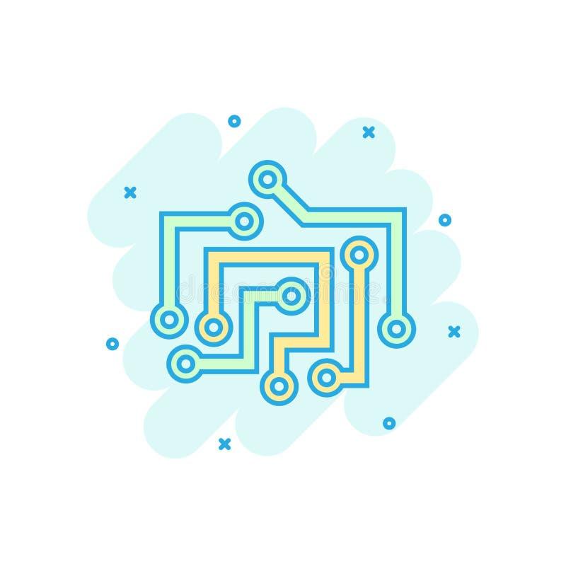 Значок монтажной платы в шуточном стиле Пиктограмма иллюстрации мультфильма вектора микросхемы технологии Дело материнской платы  бесплатная иллюстрация