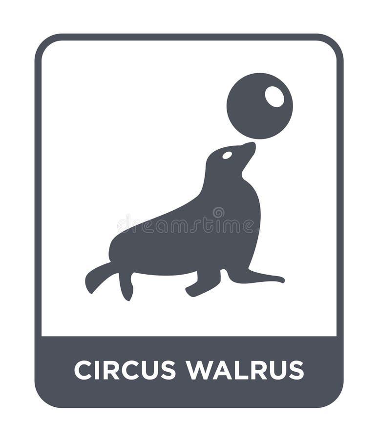 значок моржа цирка в ультрамодном стиле дизайна значок моржа цирка изолированный на белой предпосылке значок вектора моржа цирка  иллюстрация штока
