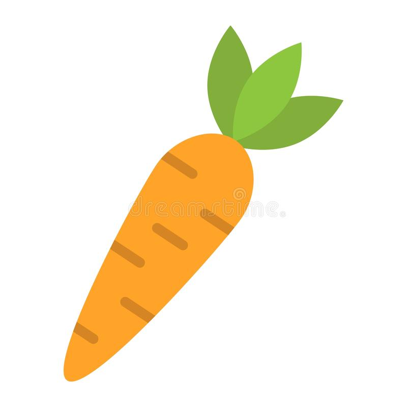 Значок моркови плоские, овощ и еда, знак диеты иллюстрация вектора
