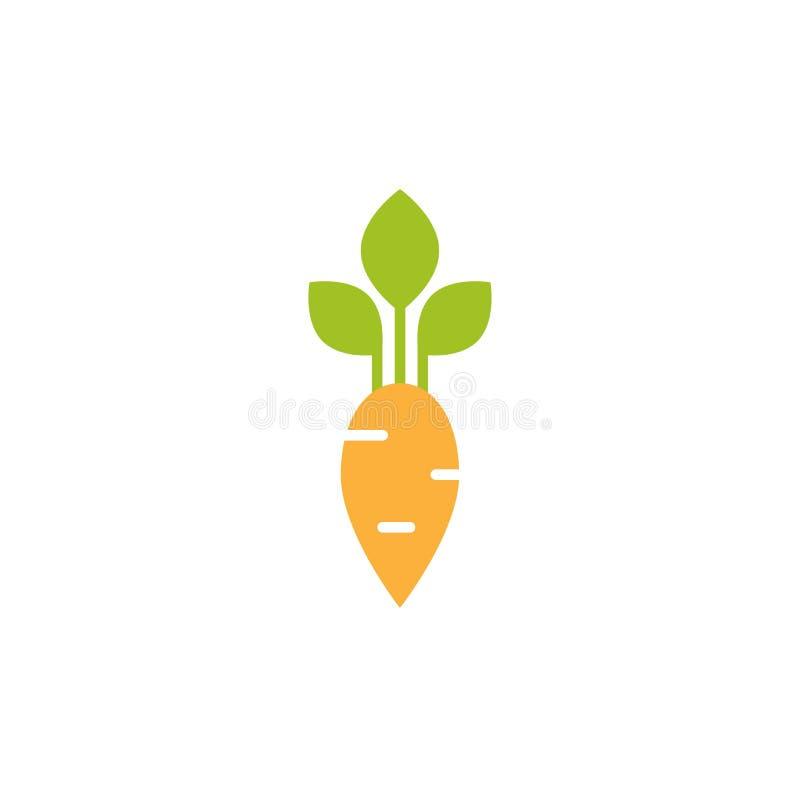 Значок моркови Плоский оранжевый овощ турнепса iIsolated на белизне Вектор варя иллюстрацию иллюстрация вектора