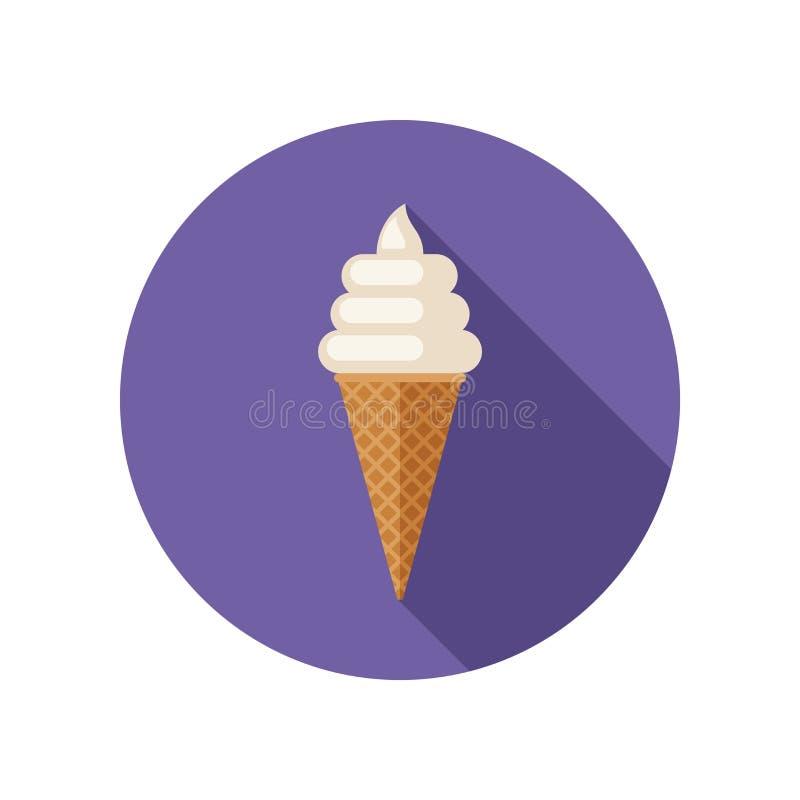 Значок мороженого плоский иллюстрация штока