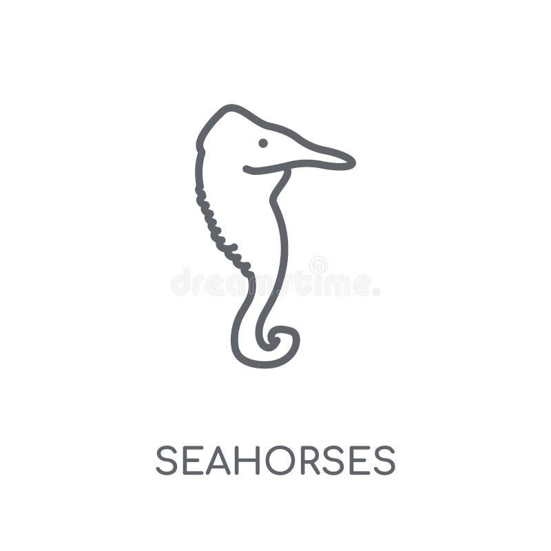 Значок морских коньков линейный Современная концепция логотипа морских коньков плана дальше бесплатная иллюстрация