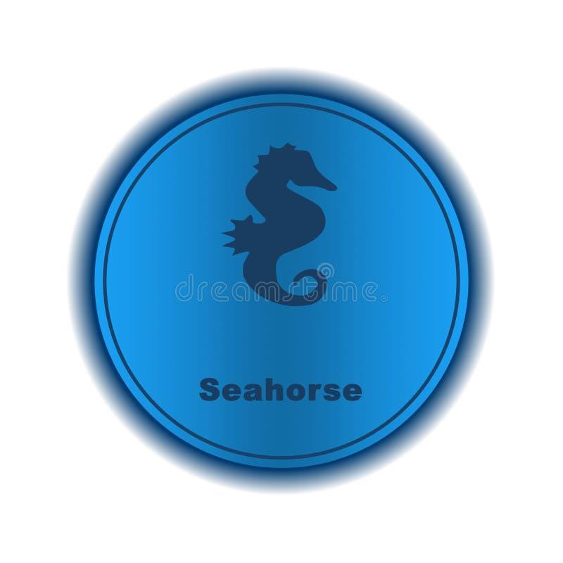 Значок морского конька, знак, иллюстрация иллюстрация штока
