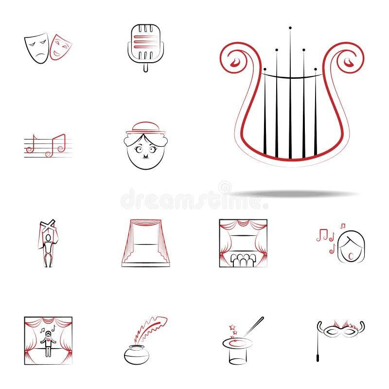 значок музыкального инструмента лиры набор значков handdraw всеобщий для сети и черни иллюстрация вектора