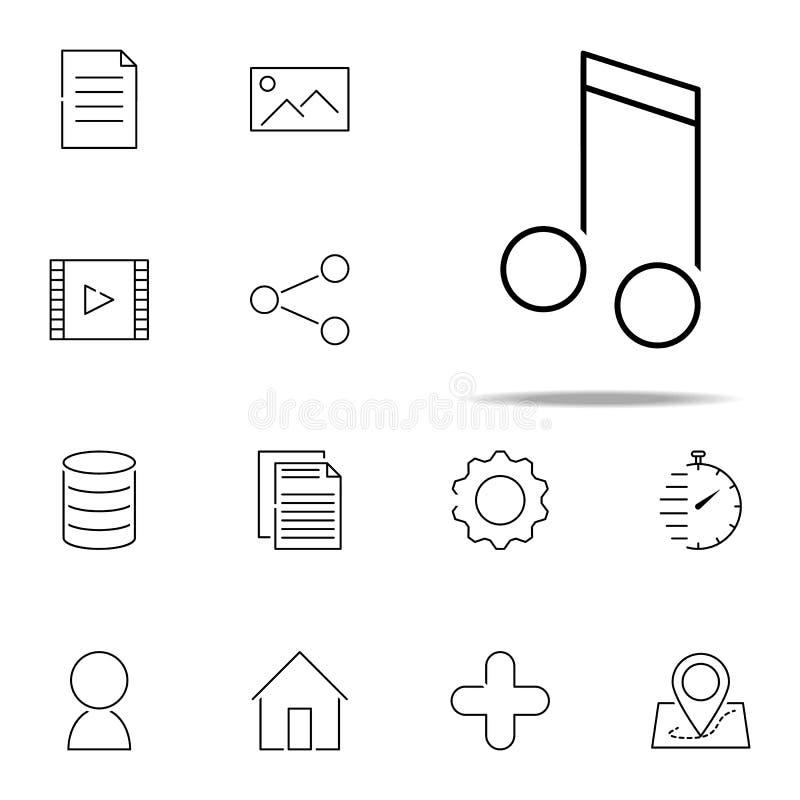 Значок музыкального примечания сеть, набор minimalistic значков всеобщий для сети и чернь бесплатная иллюстрация
