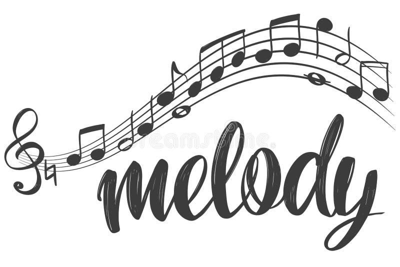 Значок музыкальных примечаний, музыка влюбленности, эскиз иллюстрации вектора руки текста каллиграфии нарисованный бесплатная иллюстрация