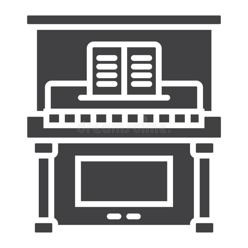 Значок, музыка и аппаратура глифа рояля иллюстрация вектора