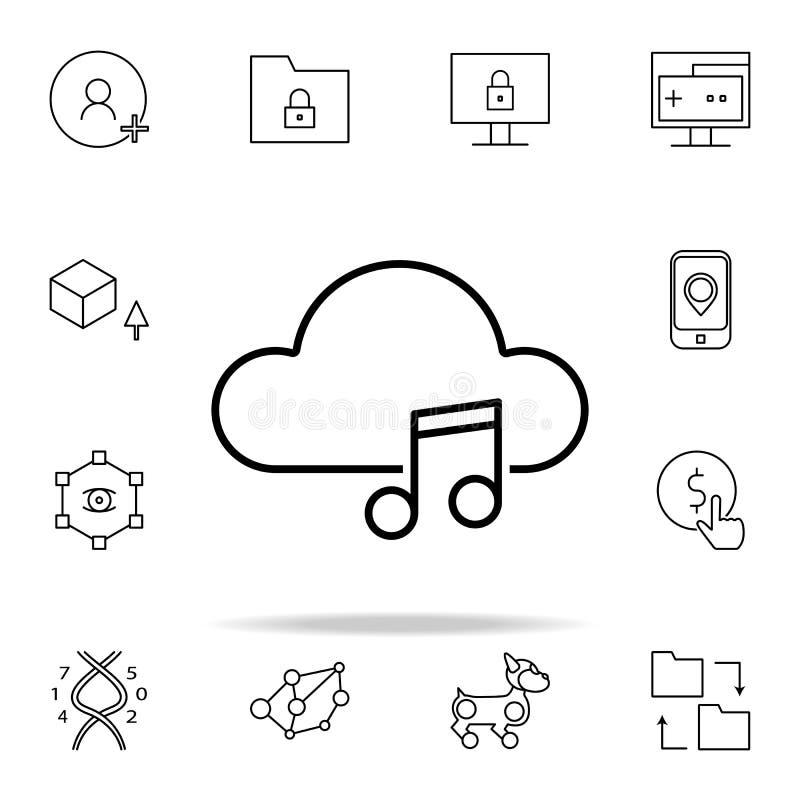 Значок музыки облака Комплект значков новых технологий всеобщий для сети и черни иллюстрация штока