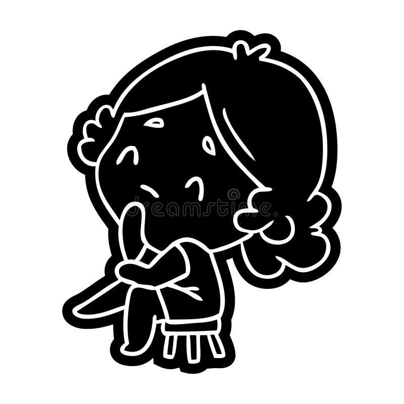 значок мультфильма милой дамы kawaii бесплатная иллюстрация