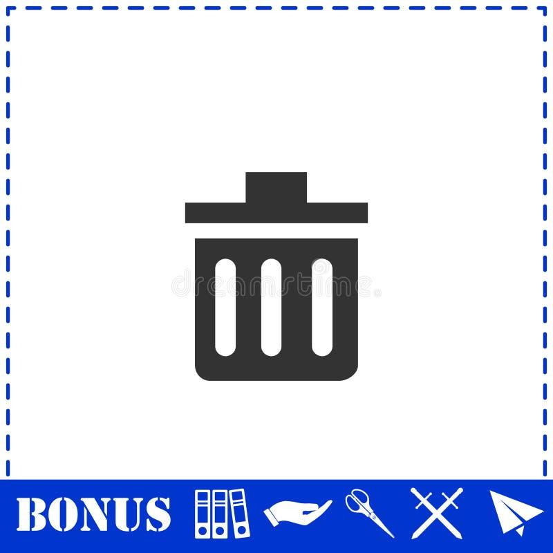 Значок мусорного бака плоско иллюстрация вектора