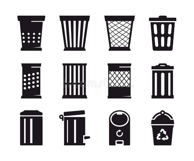 Значок мусорного бака иллюстрация вектора