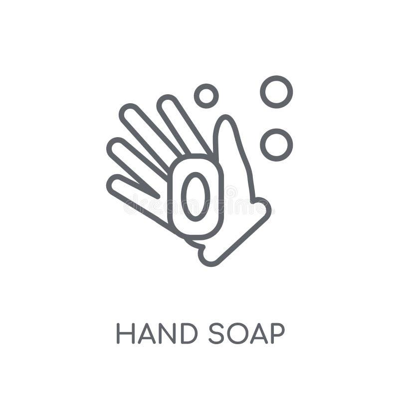 Значок мыла руки линейный Современная концепция логотипа мыла руки плана дальше иллюстрация вектора