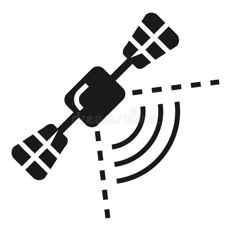 Значок навигации умного автомобиля спутниковый, простой стиль иллюстрация вектора