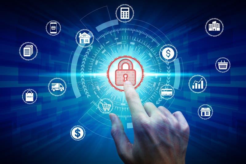 Значок над сетевым подключением, концепция padlock касания руки виртуальный уединения технологии дела защиты данных безопасностью стоковая фотография