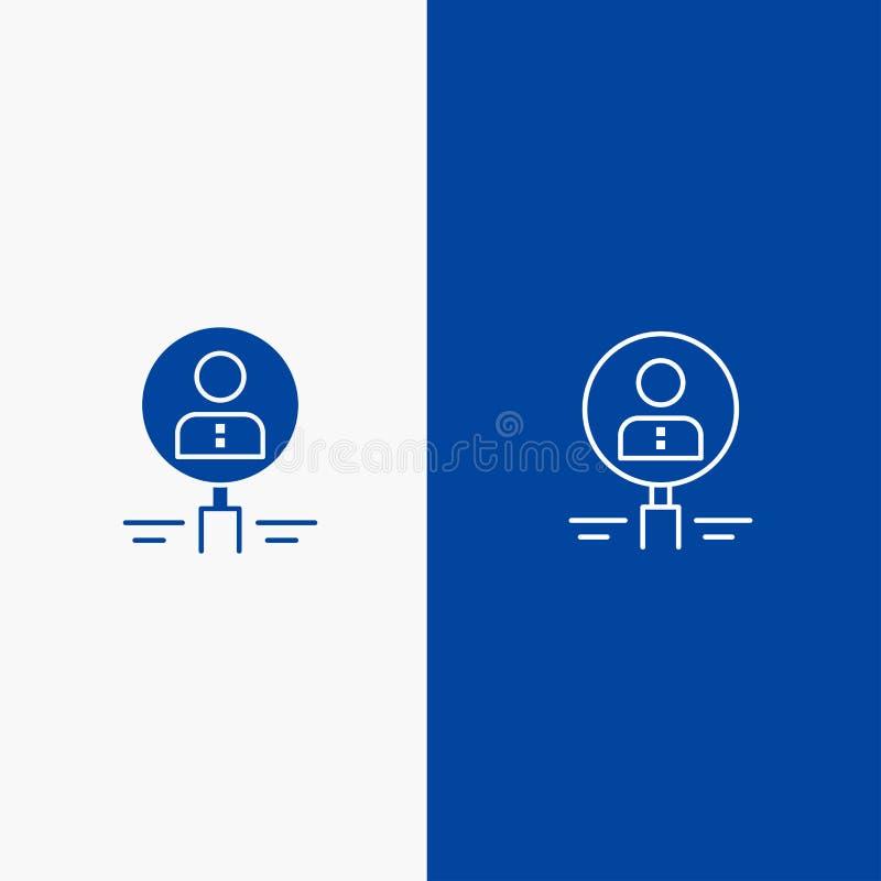 Значок найдите, стеклянных, нанимать, человеческих, увеличителя, людей, ресурса, линии поиска и глифа твердого значка голубой зна иллюстрация вектора