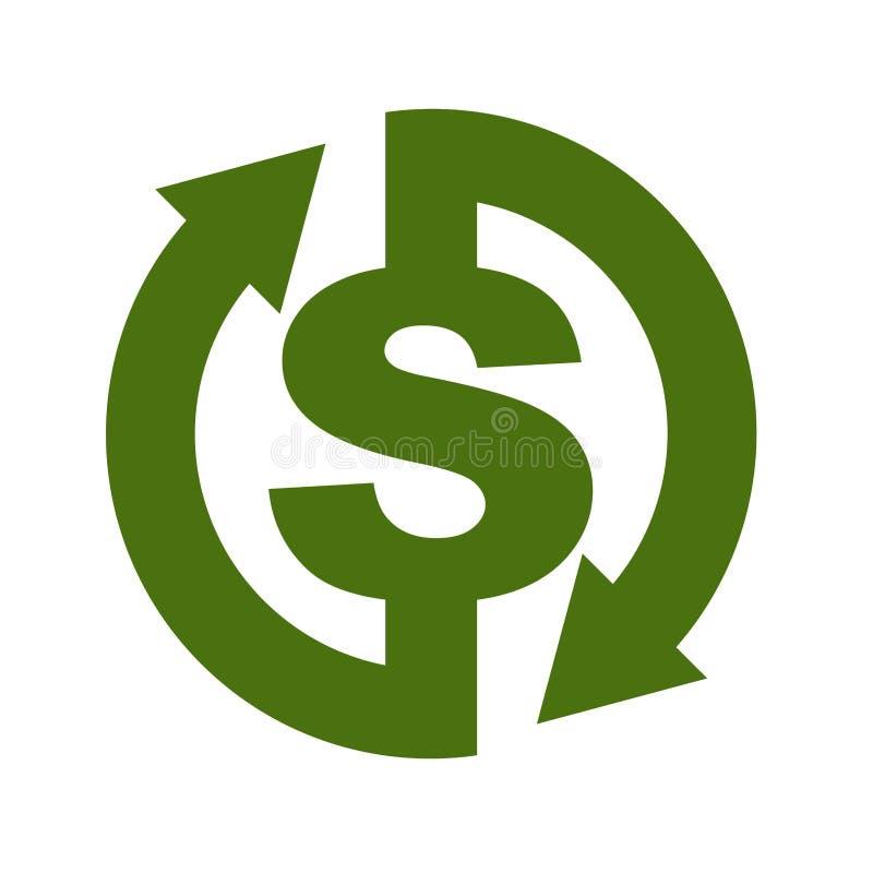 Значок наличных денег задний Символ возвращение денег Знак возмещения d иллюстрация вектора